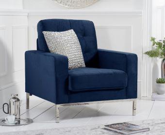 Larma Blue Velvet Armchair