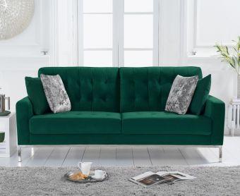 Larma Green Velvet 3 Seater Sofa