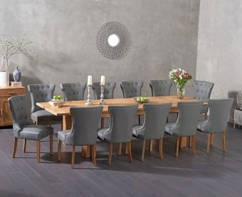 Madrid 200cm Extending Solid Oak Dining Table with Cora Grey Faux Leather Chairs