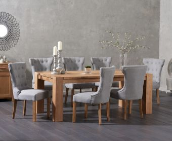 Madrid 200cm Solid Oak Dining Table with Cora Fabric Chairs