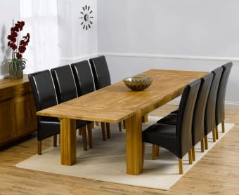 Madrid 240cm Solid Oak Extending Dining Table with Cannes Chairs