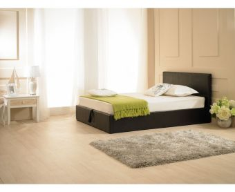Madrid Brown Faux Leather Ottoman Super King Size Bed