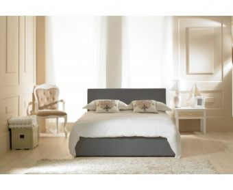 Madrid Grey Faux Leather Ottoman King Size Bed