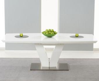 Malaga 180cm White High Gloss Extending Dining Table