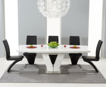 Malaga 180cm White High Gloss Extending Dining Table with Hampstead Z Chairs