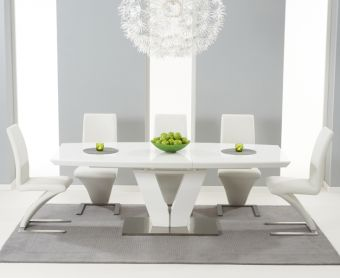 Malaga 180cm White High Gloss Extending Dining Table with Ivory-White Hampstead Z Chairs