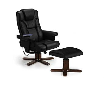 Marcus Black Faux Leather Massage Swivel and Recline Chair