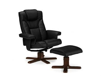 Marcus Black Faux Leather Swivel and Recline Chair