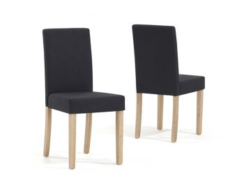 Mia Charcoal Black Fabric Chairs (Pairs)