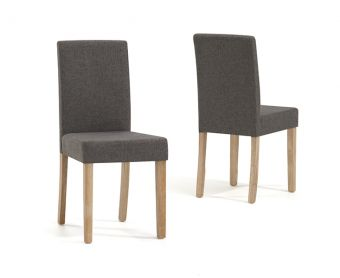 Mia Brown Fabric Chairs (Pairs)
