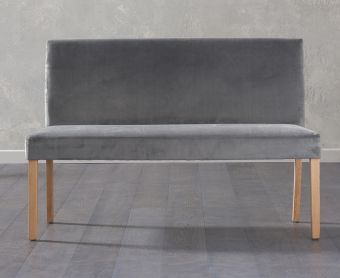 Mia Large Plush Grey Bench With Back