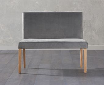 Mia Small Plush Grey Bench With Back
