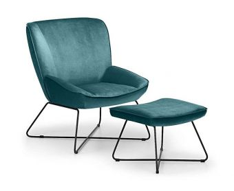 Milly Teal Velvet Fabric Accent Chair and Stool