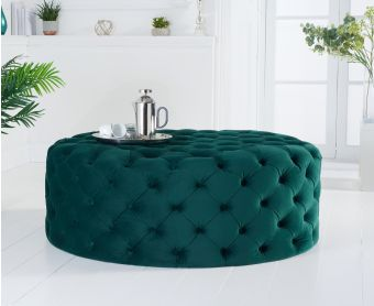 Milano Green Velvet Large Round Footstool