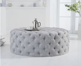Milano Grey Velvet Large Round Footstool