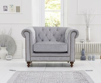 Milano Chesterfield Grey Fabric Armchair