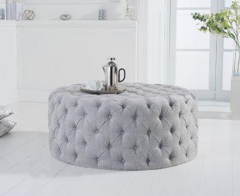 Milano Grey Velvet Round Footstool