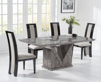 Mocha 160cm Grey Marble Dining Table with Raphael Chairs