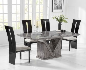 Mocha 160cm Grey Marble Dining Table with Verbier Chairs