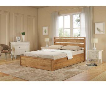 Modena Solid Oak King Size Ottoman Bed