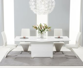 Modena 150cm White High Gloss Extending Dining Table with Ivory-White Hampstead Z Chairs