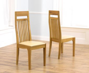 Monaco Solid Oak Cream Dining Chairs (Pairs)