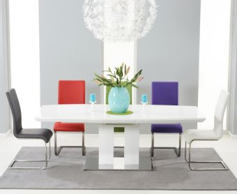 Richmond 180cm White High Gloss Extending Dining Table with Malaga Chairs