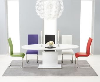 Santana 160cm White High Gloss Extending Pedestal Dining Table with Malaga Chairs