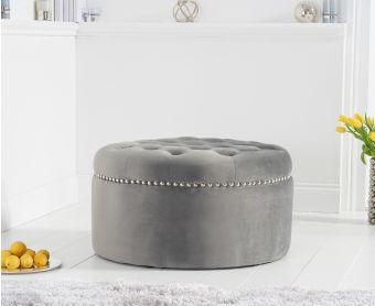 New Jersey Grey Velvet Footstool