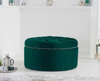 New Jersey Green Velvet Footstool