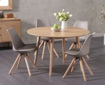Newark 120cm Oak Dining Table with Ophelia Round Leg Faux Leather Chairs
