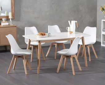 Newark 150cm Oak and White Dining Table with Demi Faux Leather Chairs