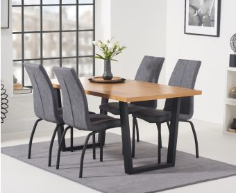 Oland 160cm Dining Table with Noir Fabric Dining Chairs