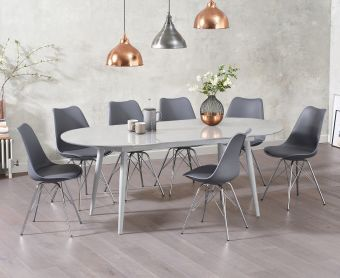 Olivia Extending Light Grey High Gloss Dining Table with Calvin Chairs