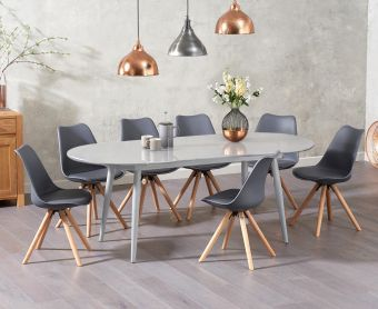 Olivia Extending Light Grey High Gloss Dining Table with Ophelia Faux Leather Round Leg Chairs