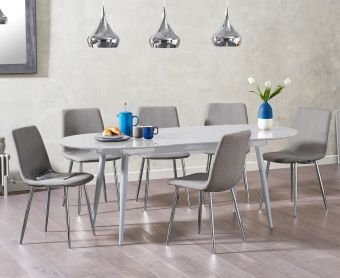 Olivia Extending Light Grey High Gloss Dining Table with Hamburg Fabric Chairs