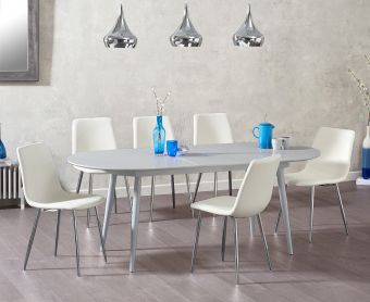 Olivia Extending Light Grey High Gloss Dining Table with Hamburg Faux Leather Chairs