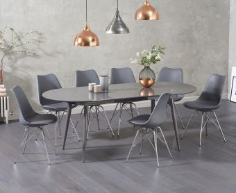 Olivia Extending Dark Grey High Gloss Dining Table with Calvin Chairs