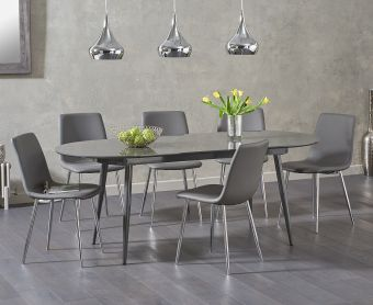 Olivia Extending Dark Grey High Gloss Dining Table with Hamburg Faux Leather Chairs