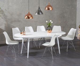 Olivia Extending White High Gloss Dining Table with Calvin Chairs