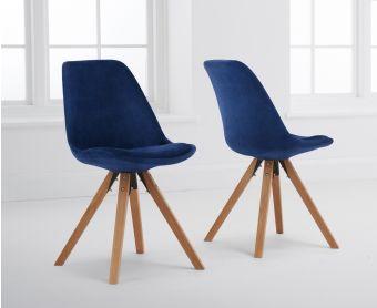 Ophelia Blue Velvet Square Leg Dining Chairs