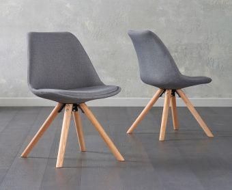Ophelia Dark Grey Fabric Round Leg Chairs