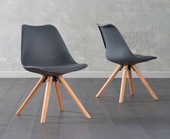 Ophelia Dark Grey Faux Leather Round Leg Chairs