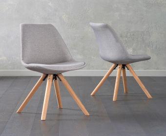 Ophelia Light Grey Fabric Round Leg Chairs