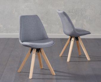 Ophelia Dark Grey Fabric Square Leg Chairs (Pairs)