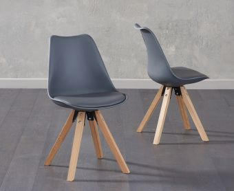Ophelia Dark Grey Faux Leather Square Leg Chairs (Pairs)