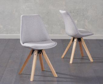 Ophelia Light Grey Fabric Square Leg Chairs (Pairs)