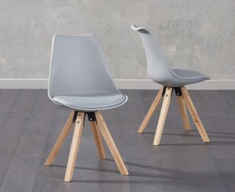 Ophelia Light Grey Faux Leather Square Leg Chairs (Pairs)