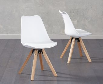 Ophelia White Faux Leather Square Leg Chairs