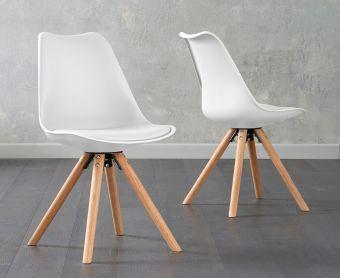 Ophelia White Faux Leather Round Leg Chairs